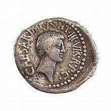 Roman Imperatorial Octavian and Marc Anthony Silver Denarius
