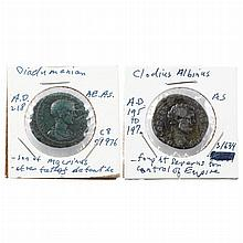Two Roman Empire Bronze Asses   Two Scarcer Asses comprising Clodius Albinus, Caesar AD 193-195 showing bare head facing rig...