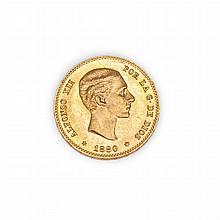 Spain 1880 25 Pesetas Friedberg 344