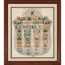 United States Fractional Currency Shield with Gray Background