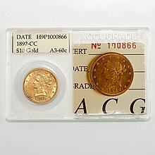 United States 1892 Carson City $10 Liberty