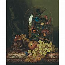 Edward Ladell British, 1821-1886 Still Life with Fruit and Taxidermy Birds under a Glass Dome