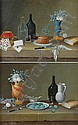 Paul Lelong French, 1799-1846 Still Lifes with Fruit, Kitchenware, Bread and Artichokes on Ledges: Four
