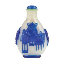 Chinese Blue Overlay Clear Glass Snuff Bottle