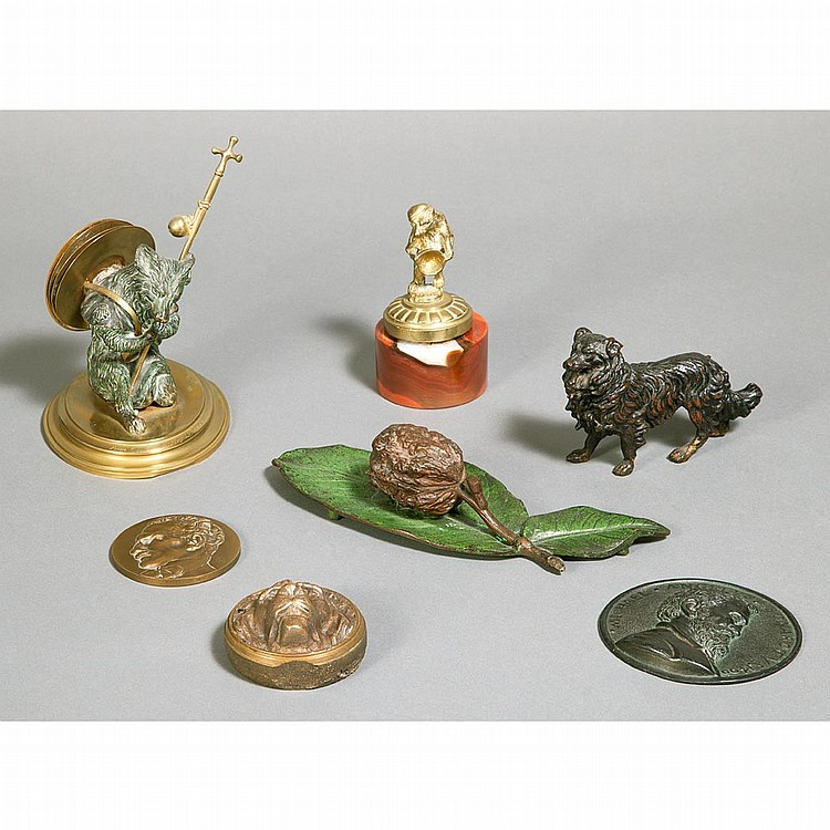 Group of Six Bronze and Metal Paperweights; And a Bear-Form Letter Rack.