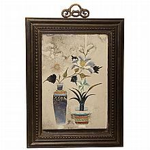 Chinese Export Reverse Painting on Glass   19th Century Depicting a floral still life. Height 16 1/2 inches, width 12 1...