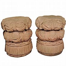 Pair of Cast Stone Garden Seats