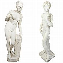 Pair of English Garden Statues   Depicting Adam and Eve. Height 50 inches.