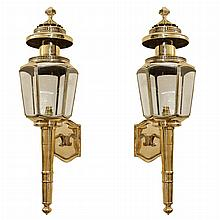 Pair of English Brass and Etched Glass Coach Lanterns   20th Century Height 32 inches.