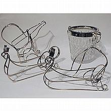 Group of Three Silver Plated Wine Caddies and a Cut Glass Ice Bucket