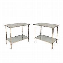 Pair of Bagues Style Faux Bamboo Chrome and Mirrored Two-Tier Side Tables   Height 19 3/4 inches, width 24 inches, depth...
