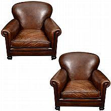 Pair of English Leather Upholstered Club Chairs