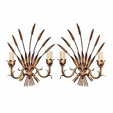 Pair of Neoclassical Style Gilt-Metal Two-Light Sconces