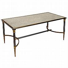Burnished-Bronze and Mirror Inset Low Table