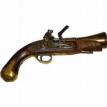 Vintage Wood Iron and Brass Replica of an 18th/19th Century Pistol