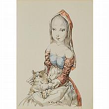 Leonard Tsuguharu Foujita French/Japanese, 1886-1968 Young Girl with Cat