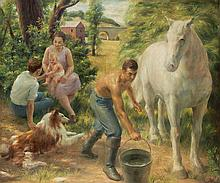 John Koch American, 1909-1978 Afternoon Labors, 1936   Signed John Koch. and dated 36 (ll) Oil on ca...