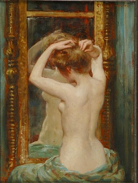 James Carroll Beckwith American, 1852-1917 The Old Pier Glass, circa 1900