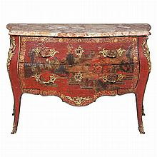 Louis XV Gilt-Bronze Mounted Red Lacquer and Parcel Gilt Bombe Commode   Adrien Faizelot Delorme, mid 18th century The fle...