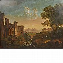 European School 19th Century Figures in a Landscape with Ruins, a Farmstead and Mountains in the Distance