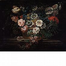 John Putnam British, 18th Century Still Life of Flowers in a Basket on a Ledge