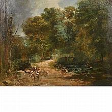 English School 19th Century River Landscape with Figures on a Bridge