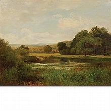 John Clayton Adams British, 1840-1906 Haslemere, Surrey (Landscape with a Pond, A Distant View of Hills Beyond)   ...