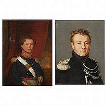 Northern European School 19th Century Portrait of a Military Officer   Oil on  canvas 16 x 12 3/4 inches (40.5 x...