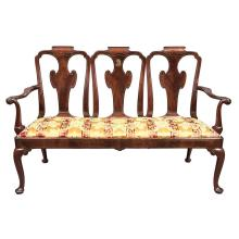 George II Brass Inlaid Padouk Triple Chair Back Settee   In the manner of John Chanon, circa 1730 The shaped top rai...