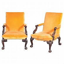 Pair of George II Style Mahogany Library Armchairs