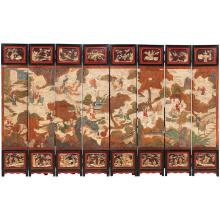 Chinese Coromandel Lacquer and Painted Eight-Panel Screen