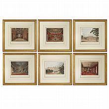 Various Artists ROYAL RESIDENCES Six hand-colored aquatints, from W. H. Pyne, The History of the Royal Residences.R...