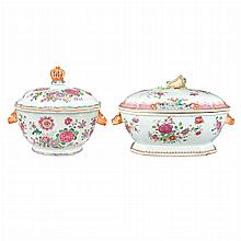 Chinese Export Famille Rose Porcelain Covered Tureen; Together with a Chinese Export Famille Rose Porcelain Covered Tureen