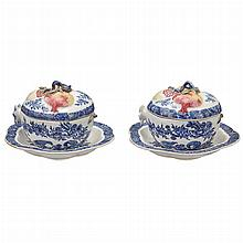 Pair of Chinese Export Pomegranate-Form Porcelain Covered Tureens and Stands