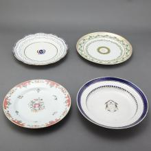 Set of Four Chinese Export Famille Rose Porcelain Plates; Together with Three Chinese Export Porcelain Plates
