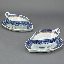 Pair of Chinese Export Armorial Porcelain Sauceboats on Stands