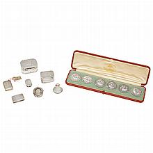 Group of George III Silver Nutmeg Graters and Vinaigrettes; T/W a One Half Sovereign Case & Set of Six Edwardian Buttons