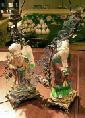 Pair of Chinese Export Porcelain and Gilt-Metal Figural Lamps