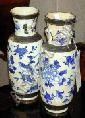 Pair of Chinese Blue and White Crackle Glaze Porcelain Vases