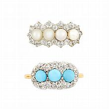 Antique Gold, Turquoise and Diamond Ring, Tiffany & Co., and Platinum, Gold, Pearl and Diamond Ring