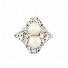 Edwardian Platinum, Pearl and Diamond Ring