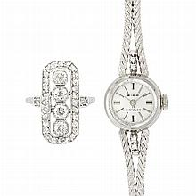 Art Deco Platinum and Diamond Ring and White Gold and Diamond Wristwatch