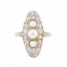 Antique Platinum, Gold, Pearl and Diamond Ring