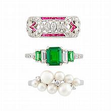 Three Platinum, White Gold, Cultured Pearl, Tsavorite, Diamond, Ruby and Synthetic Ruby Rings, Mikimoto