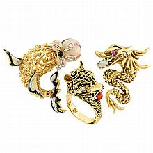 Two Two-Color Gold, Diamond, Opal, Ruby and Enamel Walrus and Dragon Brooches and Tiger Ring