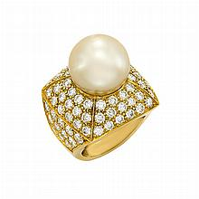Gold, South Sea Golden Cultured Pearl and Diamond Ring