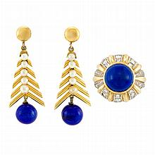 Two-Color Gold, Lapis and Diamond Ring and Pair of Gold, Low Karat Gold, Cultured Pearl and Lapis Pendant-Earclips