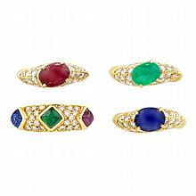 Four Gold, Gem-Set and Diamond Rings, Two by Van Cleef & Arpels