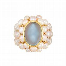 Gold, Cabochon Aquamarine and Split Pearl Ring, Mimi