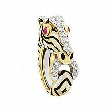 Gold, Platinum, Enamel, Ruby and Diamond Zebra Ring, David Webb